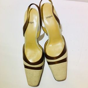 LN Impo Sling Heels  Leather Upper